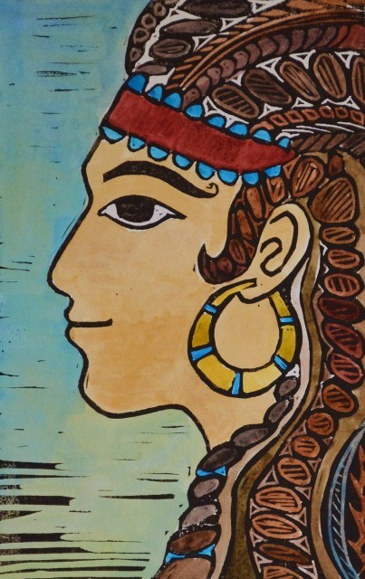Imagining Huldah: this linoleum block and watercolor print was inspired by  women depicted in ancient art from Egypt and the Aegean Sea people.