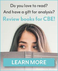 "Close up of woman looking over a book. Reads, ""Do you love to read? And have a gift for analysis? Review books for CBE!"