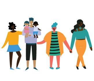 illustration of diverse group of people holding hands