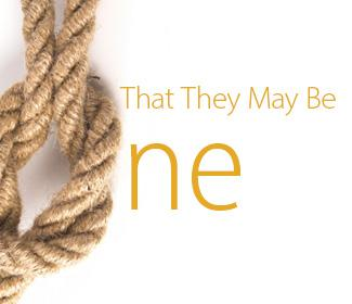 "An image of a rope tied in a knot with the words ""That They May Be One"" next to it"