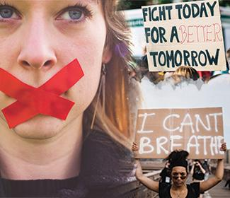 Photo composition of woman with red tape over her mouth and woman protesting behind her