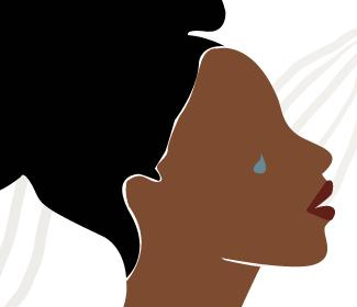 Illustration of a black woman with tear rolling down her face