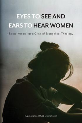 "Book cover, with the silhouette of a woman sitting, facing the ground in front of a blurred background. The text ""Eyes to See and Ears to Hear Women"" is above her head"