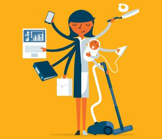 illustration of woman multi-tasking