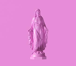 Pink background with a monochromatic statue of Mary.