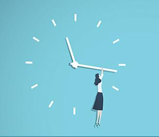 illustration of woman dangling from clock by holding onto the minute hand