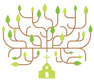 Illustration of a church surrounded by branches and leaves.