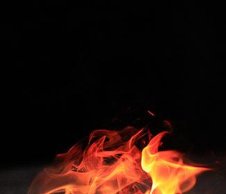 Flames with a black background.
