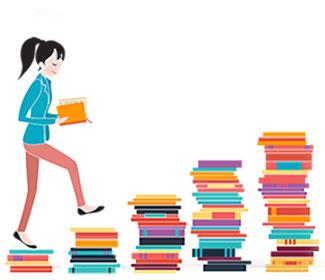 illustration of woman reading a book as she walks up a stacks of books
