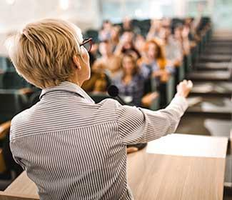 female professor giving a lecture