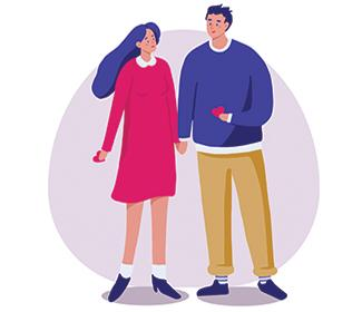 illustration of couple holding hands