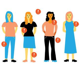 illustration of women with exclamation points around them