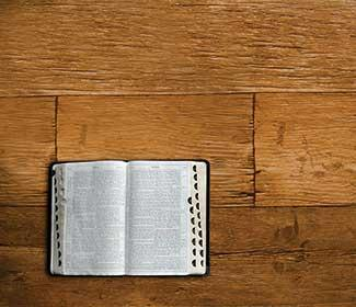 Open bible on a wooden floor