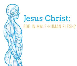 "Illustration of profile of human body with ""Jesus Christ: God in Male Human Flesh"" text"