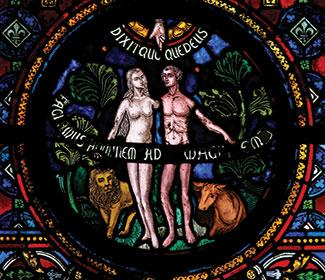 Stained glass image of Adam and Eve