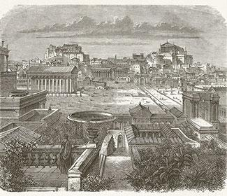Etching of an ancient city