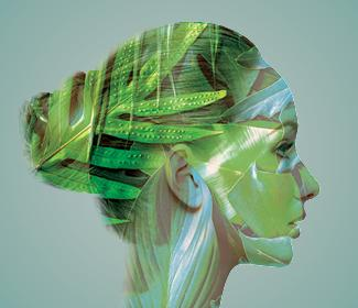Photo composition of woman with lush greenery overlaying her profile