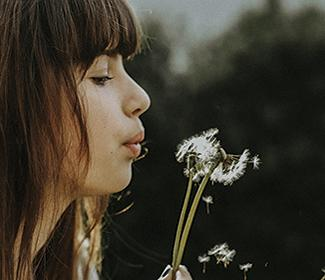 The profile of a woman blowing a dandelion