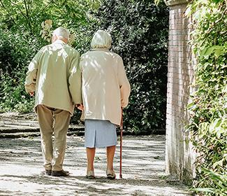 The back of an elderly couple walking hand in hand outside.