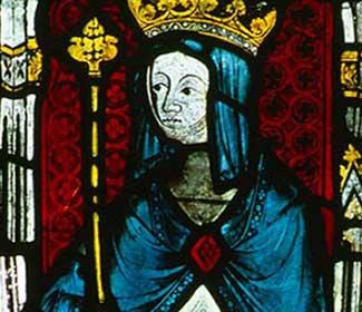 Stained glass window depicting Hild