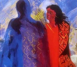 Abstract painting of a woman facing the silhouette of a man