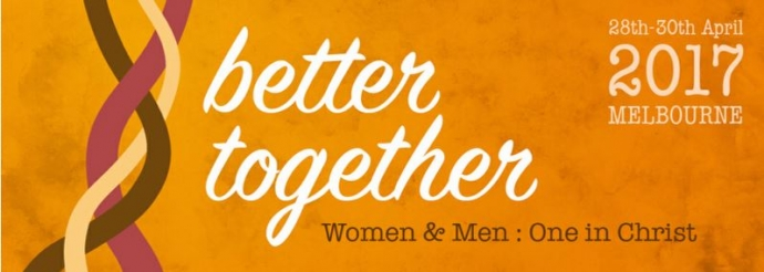 "Three intertwining ropes on a logo banner for a conference called ""Better Together: Women and Men: One in Christ"""
