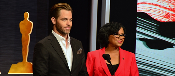 Actor Chris Pine and Academy president Cheryl Boone Isaacs present the 87th Academy Award nominations.