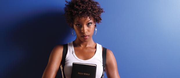 African American woman holding Bible