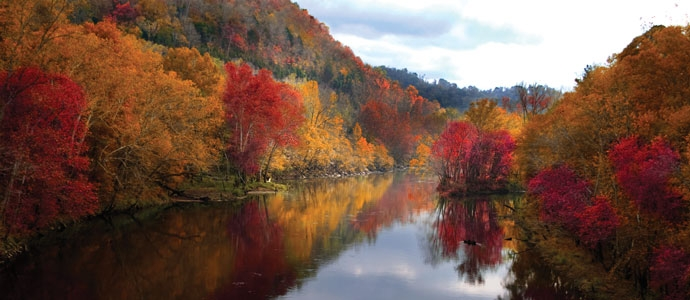 A river in the autumn, with colorful trees on both sides